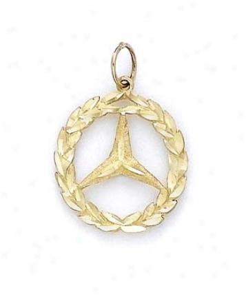 14k Mercedes Emblem Pendant