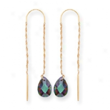 14k Moxie Green Cz Threader Earrings