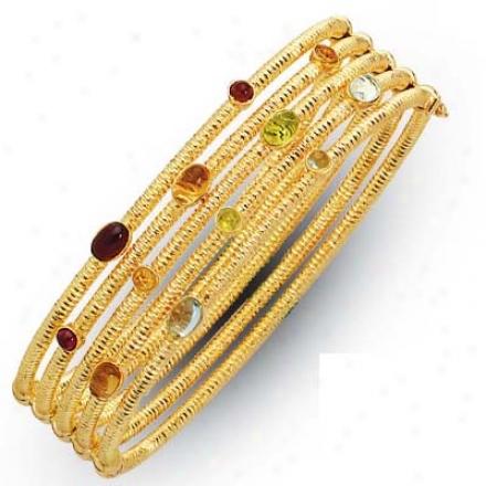 14k Multigem Semiprecious Gemstone Bracelet - 7.5 Inch