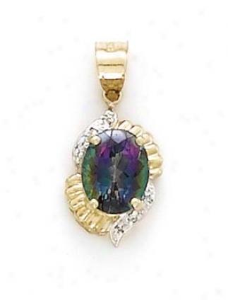 14k Mystic Topaz Diamond Pendant