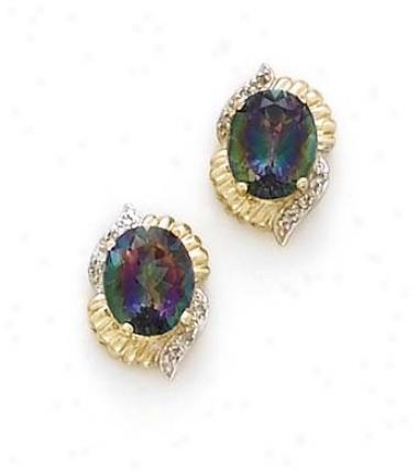 14k Mystic Topaz Diamonds Earrings