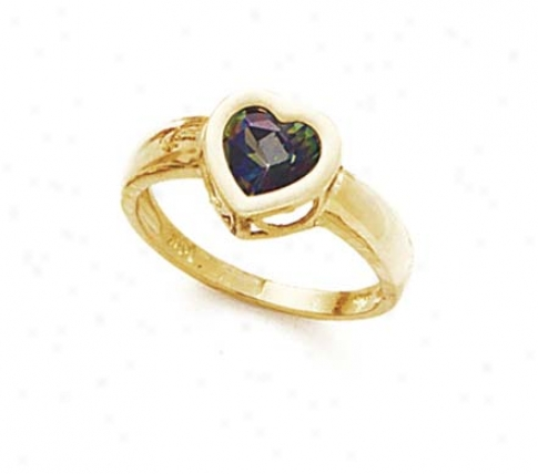14k Mystic Topaz Heart Bezel Set Ring