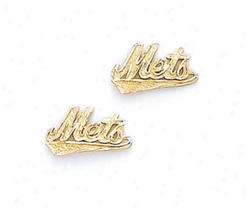 14k Ny Mets Earrings