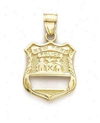 14k Ny Police Badge Pendant