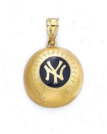 14k Ny Yankees Enamel Pendant