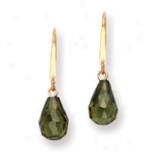 14k Olive Green Cz Drop Wire Earrings