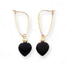 14k Onyx Heart Drop Earrings