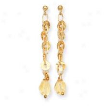 14k Open Link Round Disk Citrine Dangle Post Earrings