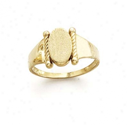 14k Oval Center Twisted Telegraph Ring