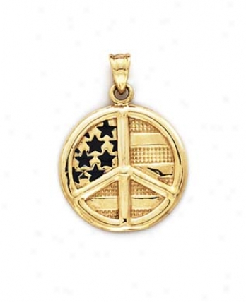 14k Peace Sign Us Flag Pendant
