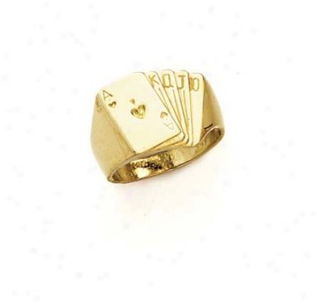 14k Playing Cards Mens Ring