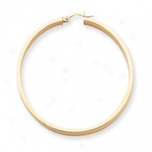 14k Polished 4mm Flat Tube Hoop Earrings
