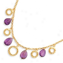 14k Polished And Satin Finish Amethyst Necklace - 17 Inch