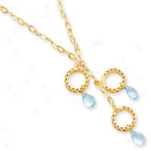 14k Polished And aStin Finish Blue Topaz Necklace - 16 Inch
