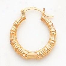 14k Pollished Bamboo Design Hollow Hoop Earrings