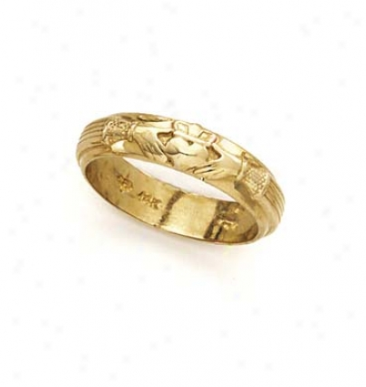 14k Polished Claddagh Mens Band Ring
