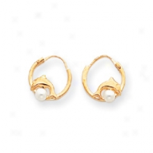 14k Burnished Cultured Pearl And Dolphin Hoop Earrings