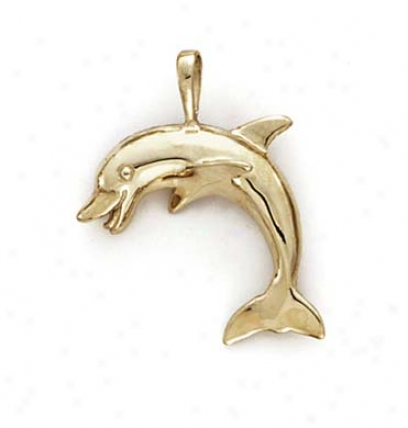 14k Polished Dolphin Pendant
