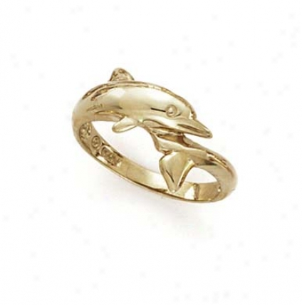 14k Polished Dolphin Ring