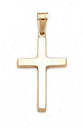14k Polished Middle Cross Pennant
