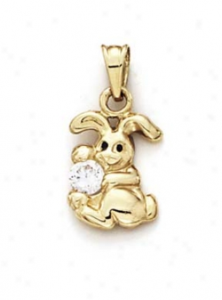 14o Polished Small Bunny Cubic Cz Pendant