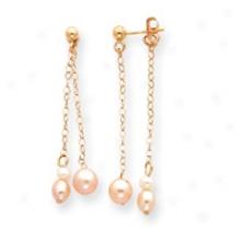 14k Post Double Chain Pink Pearl Earrings