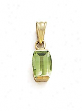14k Rectangle Peridot Pennant
