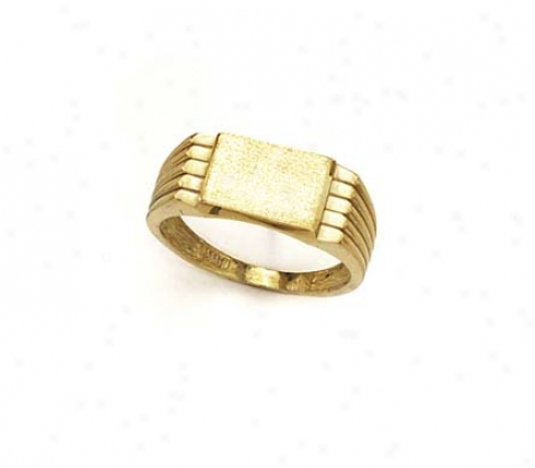 14k Rectangle Signet Ribbed Sides Mens Ring