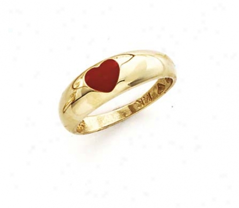 14k Red Eanmel Heart Ring
