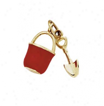 14k Red Enamel Pail And Shovel Pendant