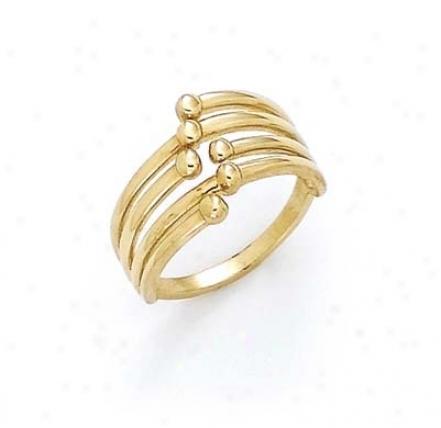 14k Rhodium Interlock Bead Ring