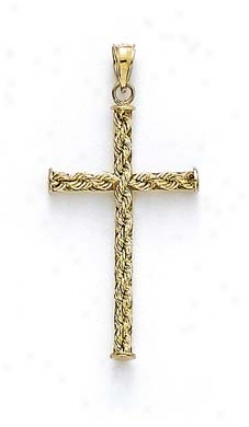 14k Rope Cross Pendant