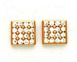 14k Rose 2 Mm A~ Cz Fancy Friction-back Post Earrings