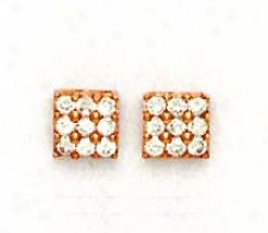 14k Rose 2.5 Mm Round Cz Square Design Earrings