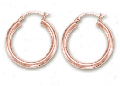 14k Rose 4 Mm Hoop Eadrings