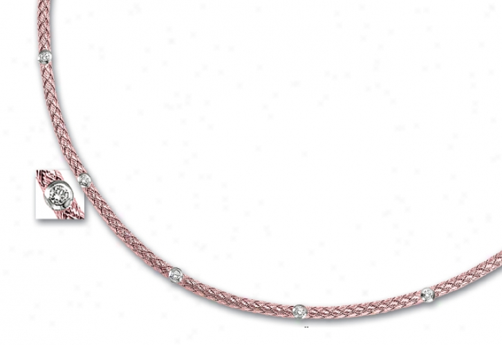 14k Rose Couture Diamond Necklace - 17 Inch