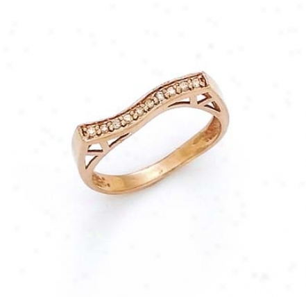 14k Rose Diamond Wave Ring