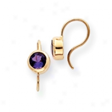 14k Round Bezel And Amethyst Earrings