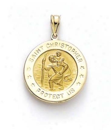 14k Round St Chrlstopher Medallion Pendant