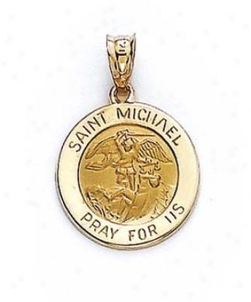 14k Round St Michael Medallion Penadnt