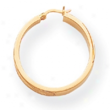 14 Satin And Diamond-cut 4mm Round Hoop Earrings