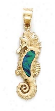 14k Seahorse Opal Inlay Chandelier