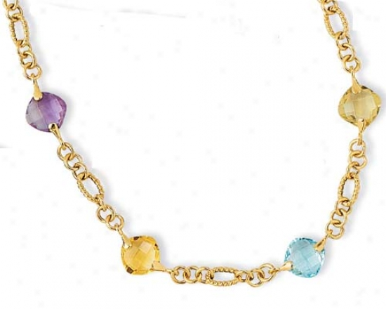14k Semiprecious Gem Station Ring Gemstone Bracelet - 18 In