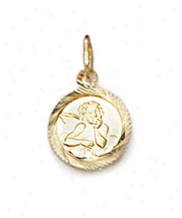 14k Small Angel Medallion Pendant