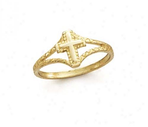14k Small Cross Ring