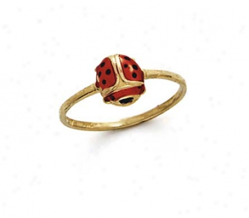 14k Small Lady Bug Ring