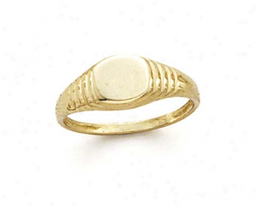 14k Small Round Signet Ring