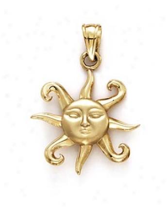 14k Small Sun Pendant