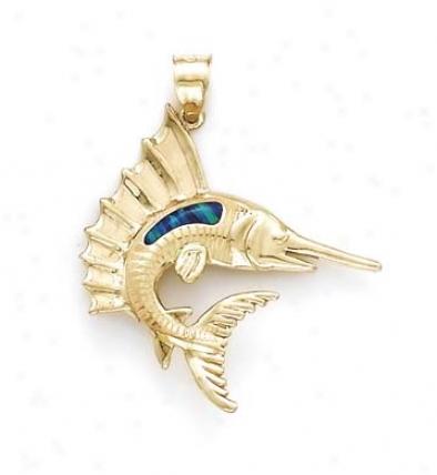 14k Small Swordfish Opal Pendant