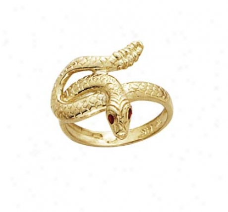14k Snake Red Cz Eyes Mens Ring